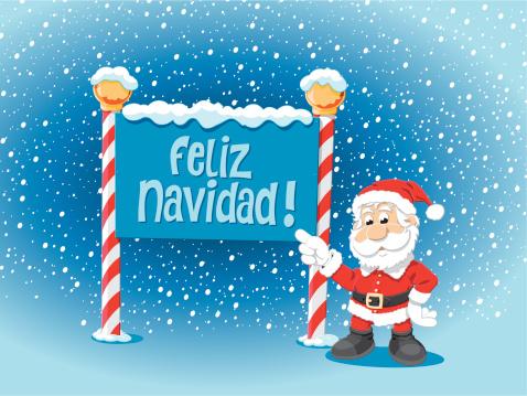 Santa Claus Pointing Feliz Navidad Sign Snow