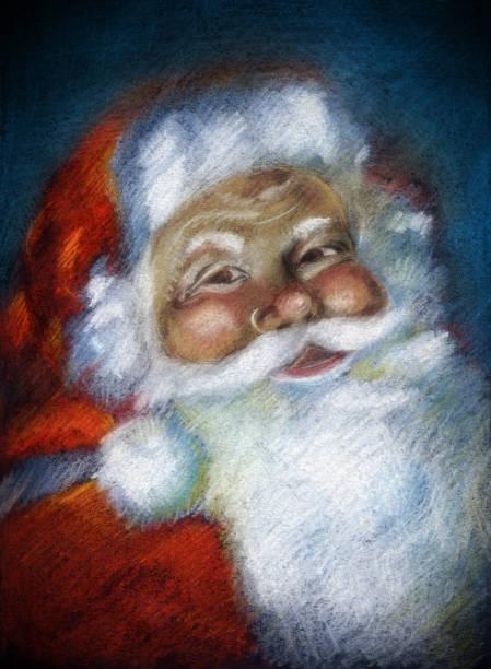 santa claus portrait - old man portrait drawing stock illustrations, clip art, cartoons, & icons
