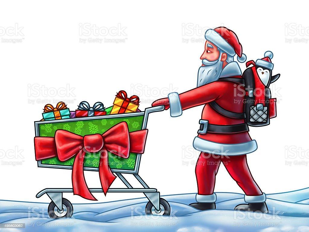Santa Claus Pushing a Shopping Cart vector art illustration