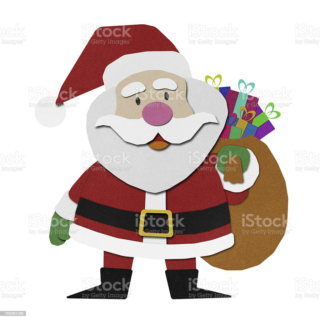 Santa claus recycled papercraft. royalty-free santa claus recycled papercraft stock vector art & more images of art