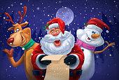 santa claus reindeer snowman cheering