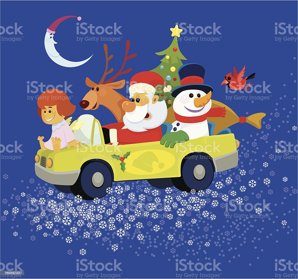 Santa Claus Riding in Car with Snowman and Reindeer royalty-free stock vector art
