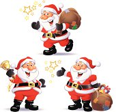 Vector illustration of three cute Santa Claus isolated on white. Fully editable and labeld in layers.