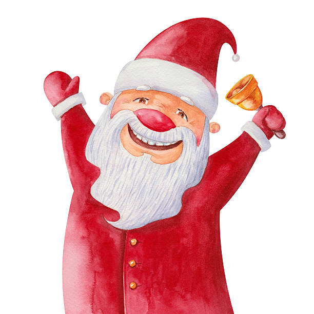 santa claus with a bell - old man funny pictures stock illustrations