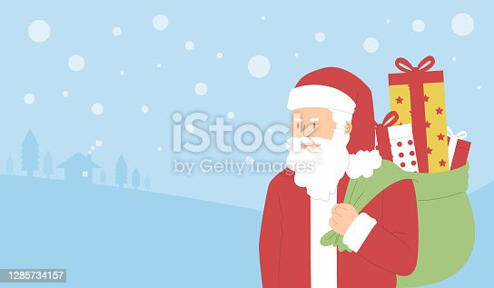 Santa Claus with gift box , Christmas concept and New year concept, Flat character design