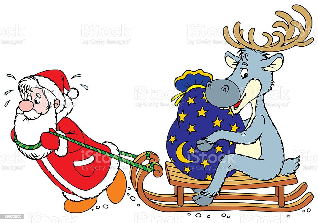 Santa Clause and Reindeer royalty-free santa clause and reindeer stock vector art & more images of art and craft