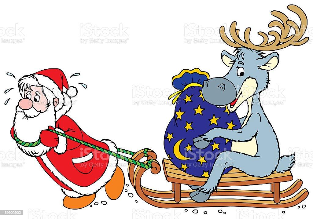 Santa Clause and Reindeer royalty free santa clause and reindeer stockvectorkunst en meer beelden van cartoon