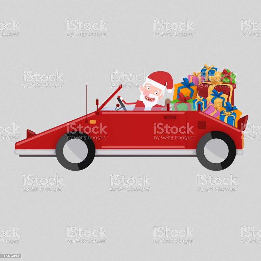 Conducir un coche rojo con muchos regalos de Santa - ilustración de arte vectorial