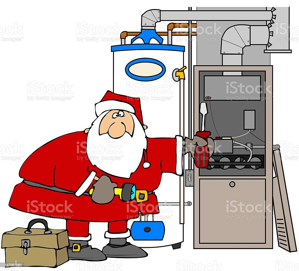 Santa Fixing A Furnace royalty-free stock vector art
