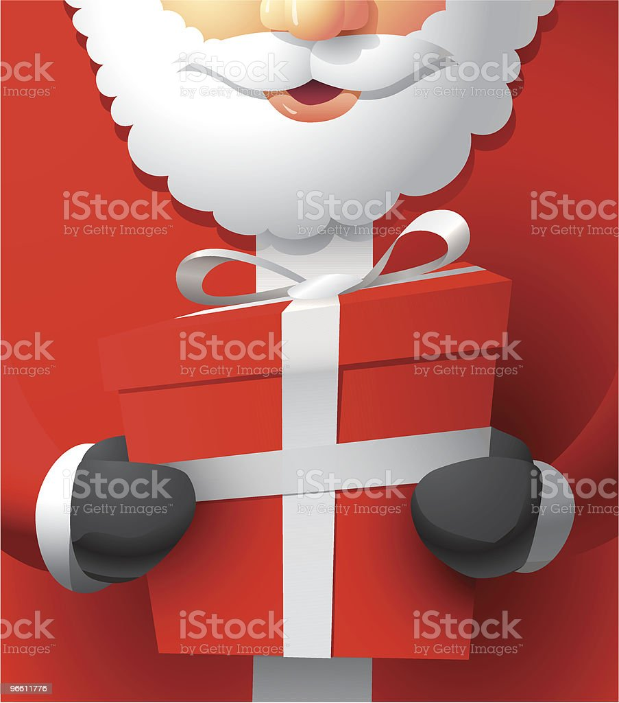 Santa Holding a Gift - Royalty-free Adult stock vector
