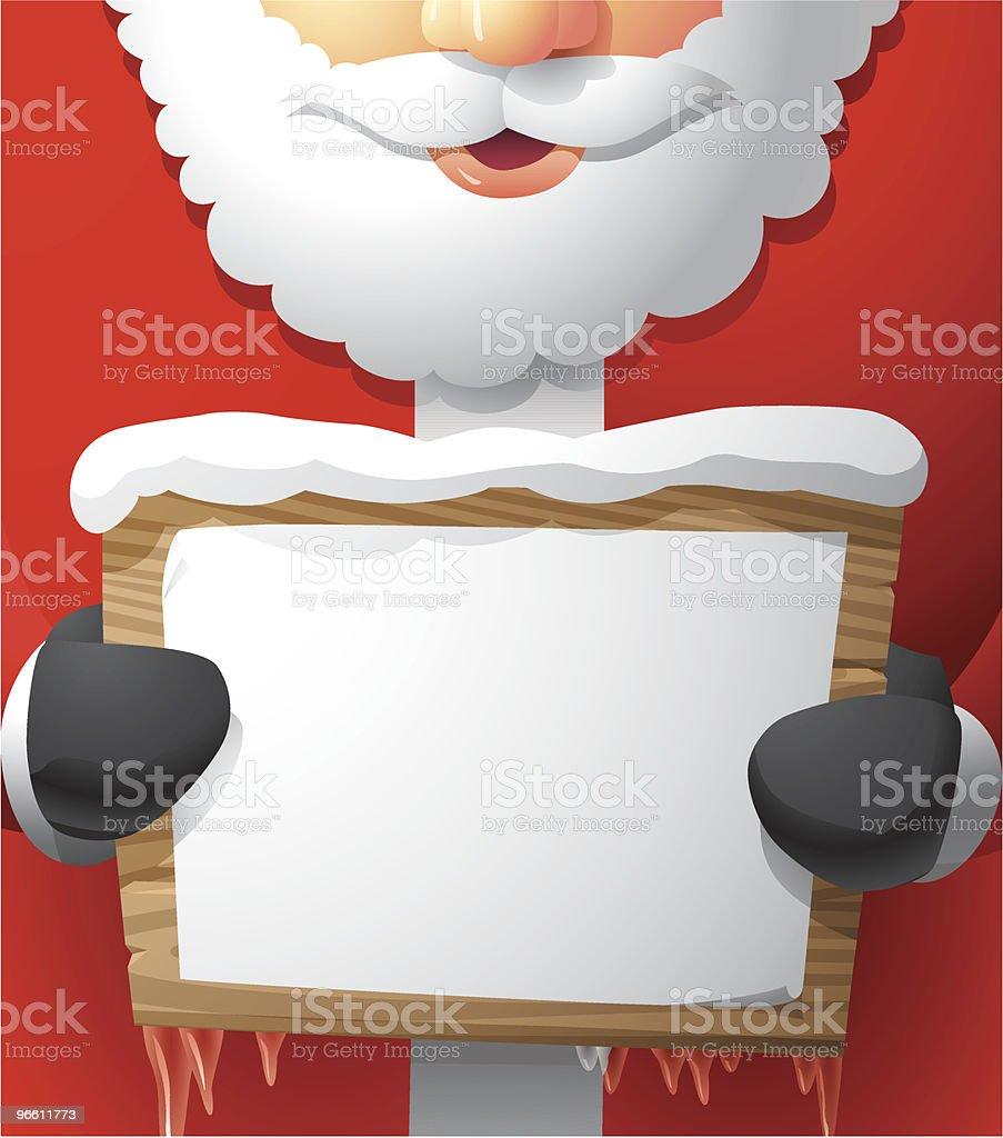Santa Holding a Papered Wooden Sign - Royaltyfri En människa vektorgrafik