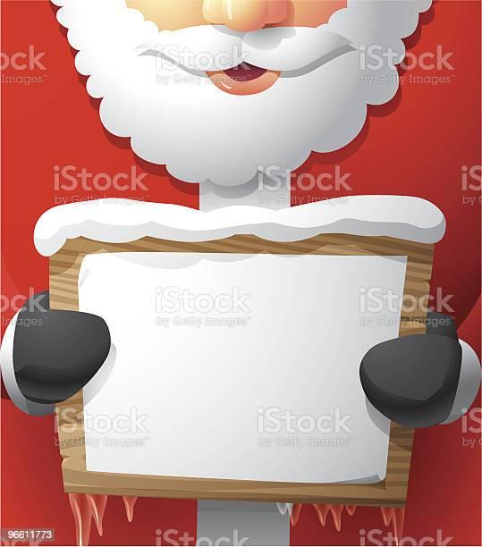Santa Holding A Papered Wooden Sign-vektorgrafik och fler bilder på En människa