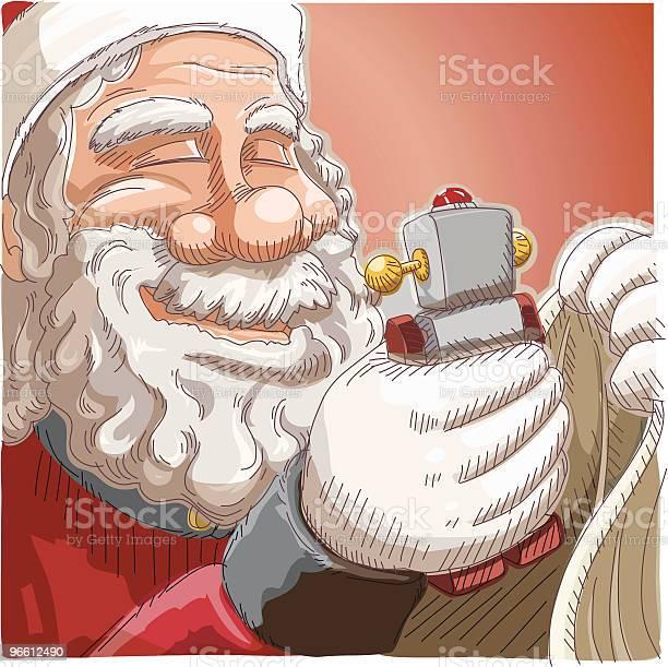 Santa Holding Toy-vektorgrafik och fler bilder på En människa