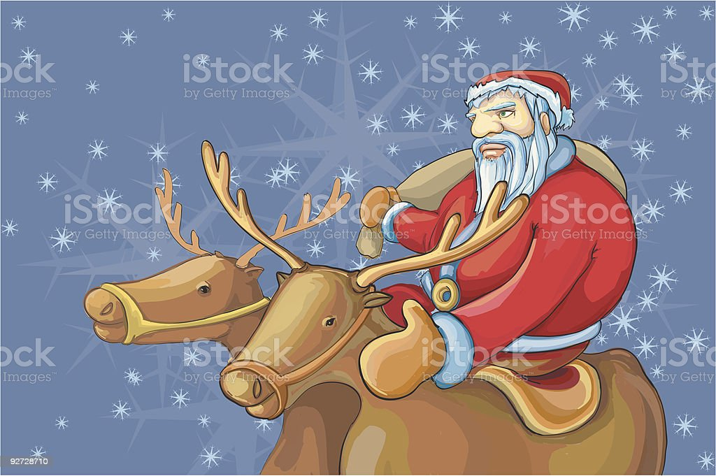 santa in way to a place with deers royalty-free stock vector art