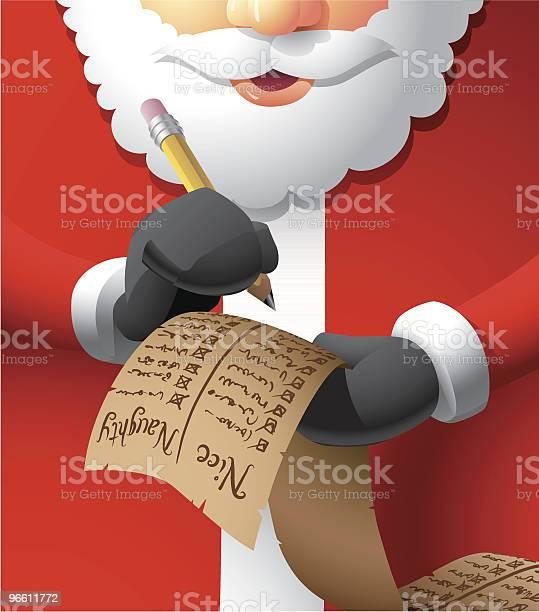 Santa Making A List-vektorgrafik och fler bilder på Blyertspenna
