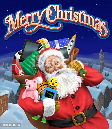 Jolly Santa stands on a rooftop with his big bag of toys at night with Merry Christmas text over his head.