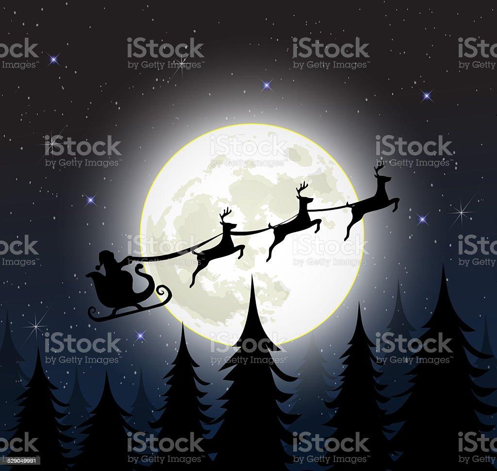 Papai Noel em um trenó com reindeers sobre a Lua - ilustração de arte em vetor