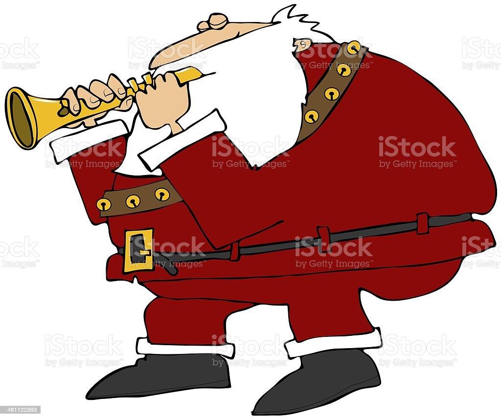 Santa playing a flute vector art illustration