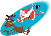 Santa riding on a crazy deer.