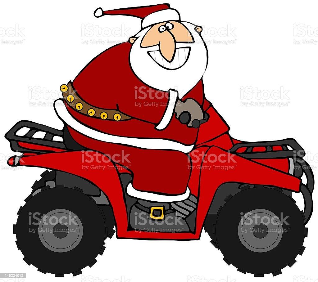 Santa Riding An ATV royalty-free stock vector art