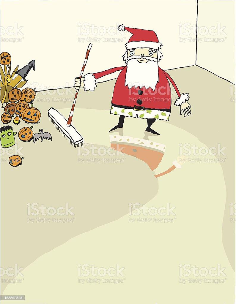 Santa Sweeping royalty-free stock vector art