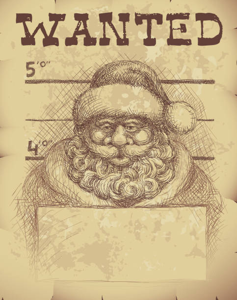 Santa wanted Wanted poster of Santa Claus. police line up stock illustrations