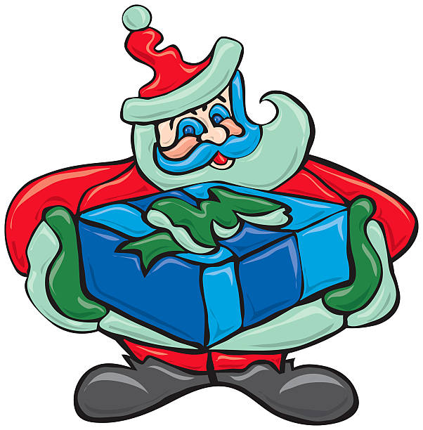 Santa with Gift vector art illustration