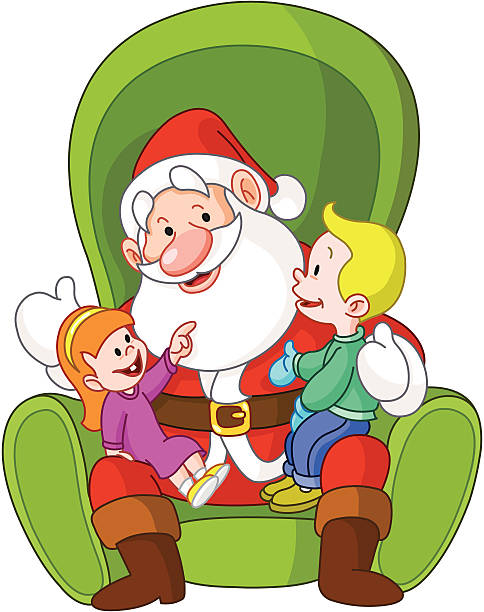 santa with kids - old man sitting chair clip art stock illustrations, clip art, cartoons, & icons