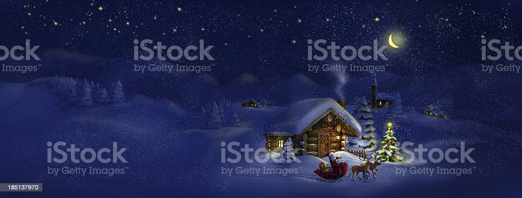Santa with presents, deers, Christmas tree, hut. Panorama landscape vector art illustration