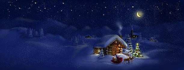 weihnachtsmann mit geschenken und weihnachtsbaum, hirsche, hut.  panorama-landschaft - landhaus stock-grafiken, -clipart, -cartoons und -symbole