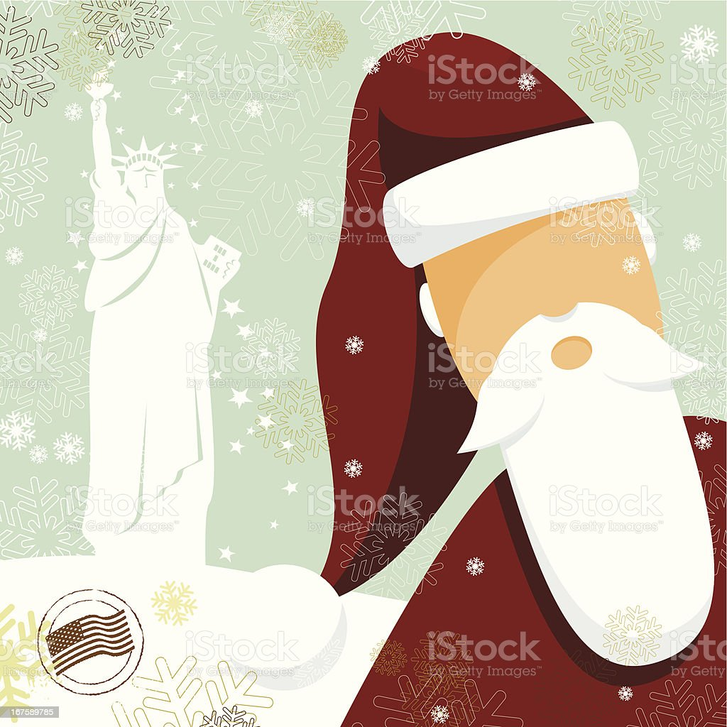 Santa's postcard from NYC royalty-free stock vector art