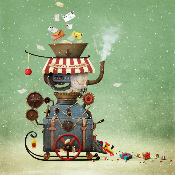 Santa's Workshop vector art illustration