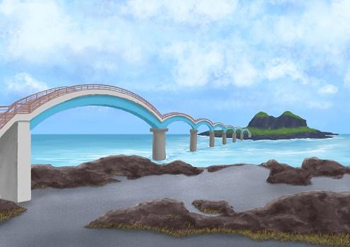 Sanxiantai island, landscape of sand and rock beach with arch bridge in Taitung, Taiwan