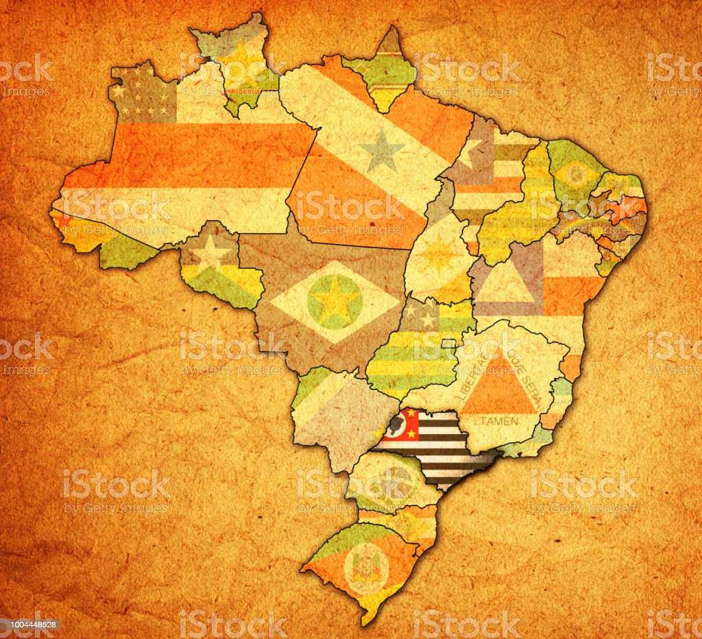 Sao Paulo Flag On Map Of Administrative Divisions In Brazil Stock