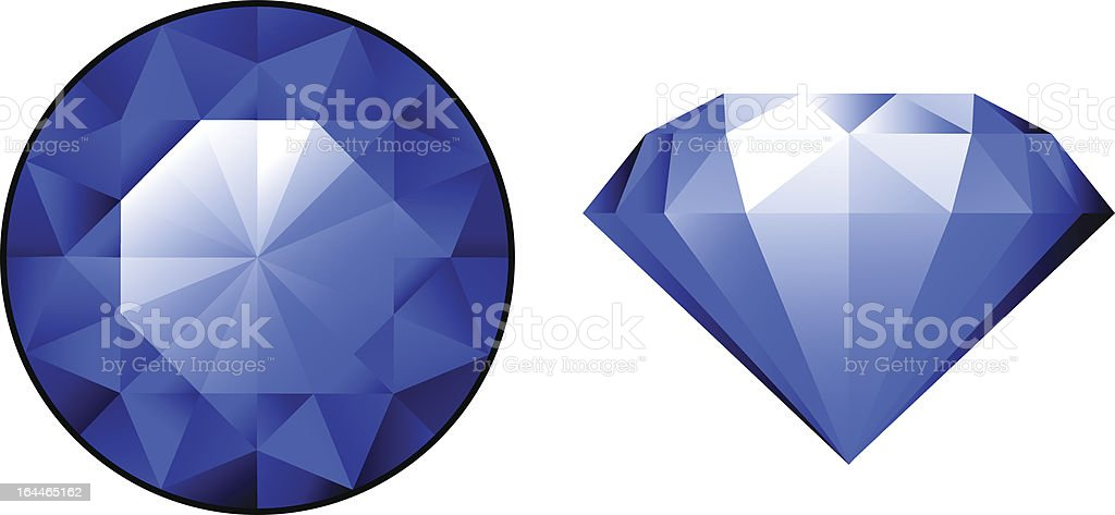 Sapphire from two perspectives over white vector art illustration