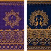 A pair of extra tall seamless sari border designs with intricate gold details, featuring namaste hands and a pair of ornate peacocks. (Includes .jpg)