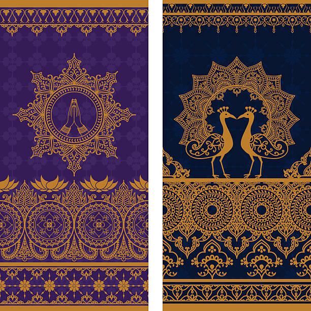 stockillustraties, clipart, cartoons en iconen met sari borders tall - indiase cultuur
