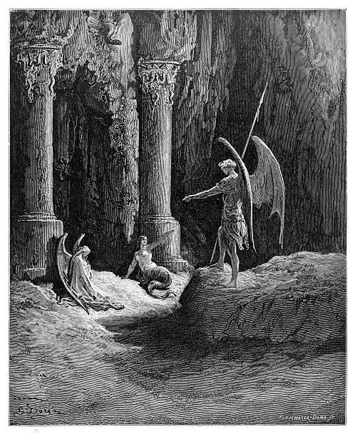 illustrazioni stock, clip art, cartoni animati e icone di tendenza di satana alle porte dell'inferno di rilievo - dante alighieri