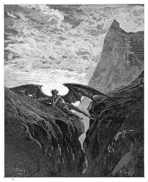 illustrazioni stock, clip art, cartoni animati e icone di tendenza di incisione satana 1885 - dante alighieri
