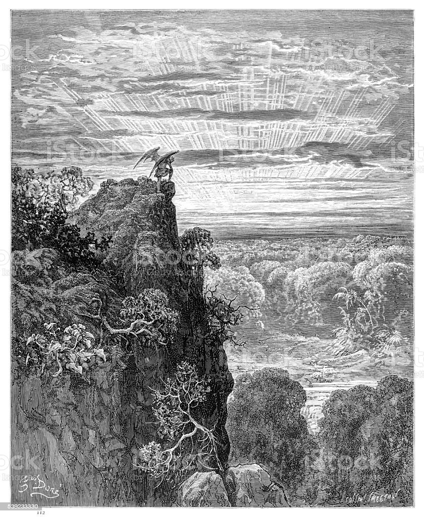 Satanás con vista a un paraíso grabado 1885 ilustración de satanás con vista a un paraíso grabado 1885 y más banco de imágenes de biblia libre de derechos