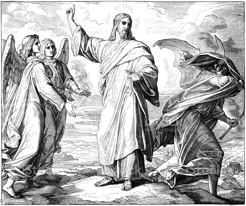 Satan Tempts Jesus vector art illustration