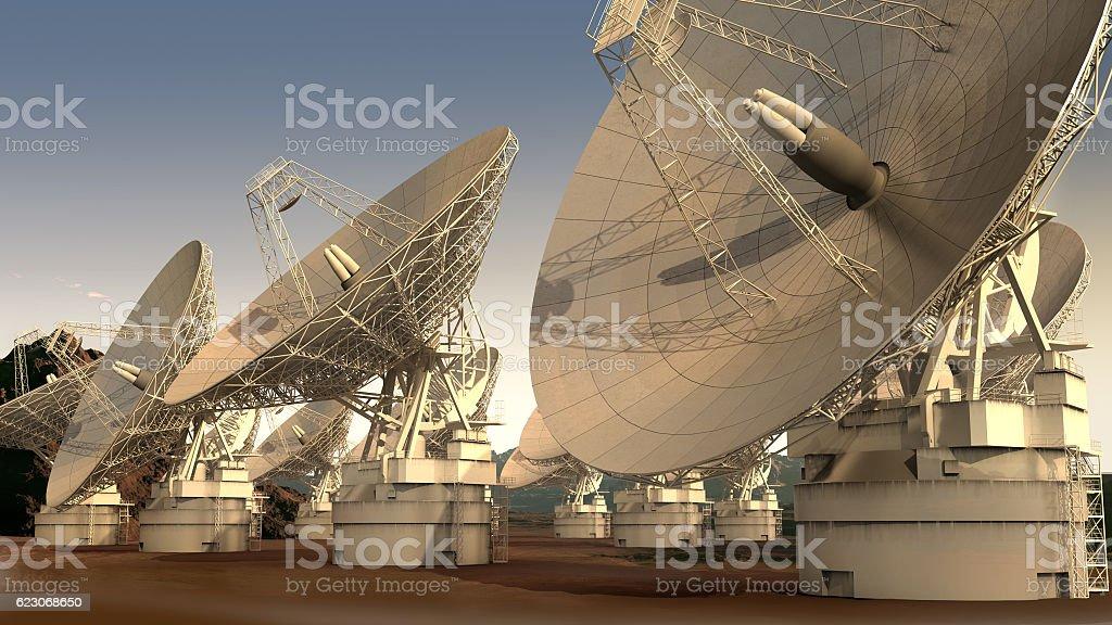 Satellite dish array vector art illustration