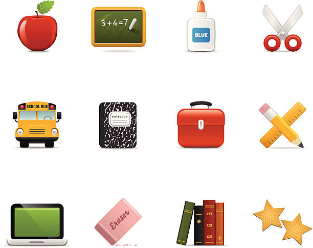 satin icons | education - lunch box stock illustrations, clip art, cartoons, & icons