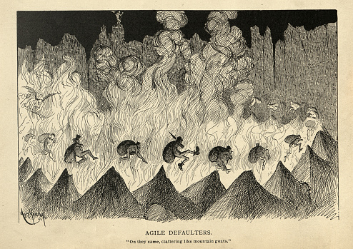 Satirical cartoon sketch on hell, punishment of Agile defaulters, Victorian