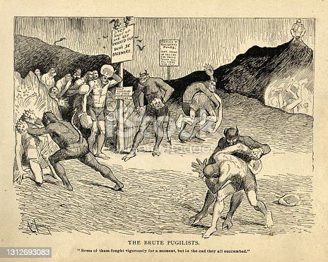 Vintage illustration of Satirical cartoon sketch on hell, punishment of the brute pugilists