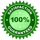 Satisfaction guaranteed product label or badge or sticker isolated image on white background