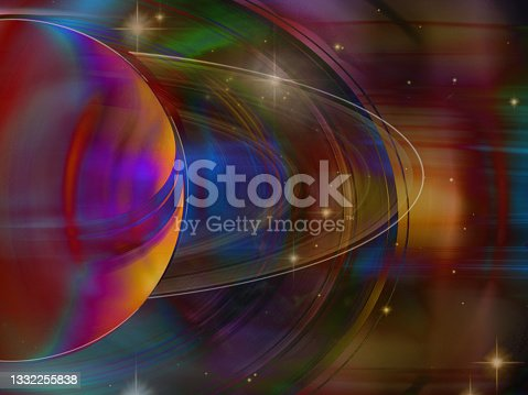 istock Saturn planet multicolor art background. Elements of this image furnished by NASA. 1332255838