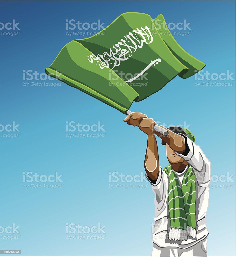 Saudi Arabia Waving Flag Soccer Fan royalty-free stock vector art