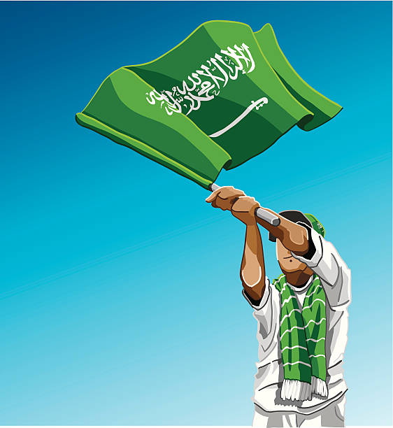 """Saudi Arabia Waving Flag Soccer Fan """"Vector Illustration of a Saudi Arabian soccer fan. The background is on a separate layer, so you can use the illustration on your own background. The colors in the .eps and .ai-files are ready for print (CMYK). Included files: EPS (v8), AI (CS2) and Hi-Res JPG."""" soccer stock illustrations"""