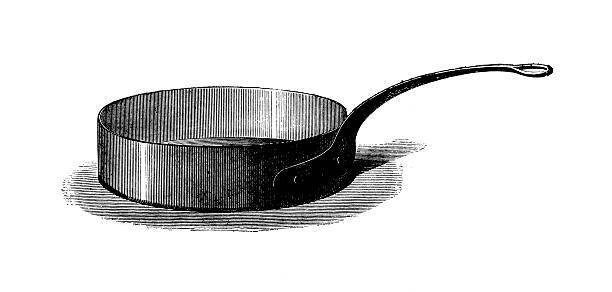 Saute pan | Antique Culinary Illustrations vector art illustration